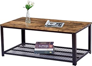 Trustiwood Vintage Industrial Coffee Table, Cocktail Table with Large Tabletop and Storage Shelf for Living Room, Ancient Furniture with Sturdy Metal Frame, Easy to Assembly, Brown