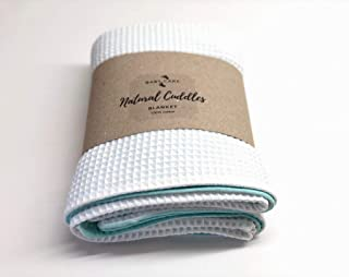 Super soft White/Mint Organic Muslin and Waffle blanket for newborn Size: 41x27 inches