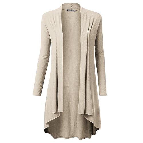 URBANCLEO Womens Hi-Lo Draped Open Front Long Cardigan Sweater (S-3X) 075a96d5a