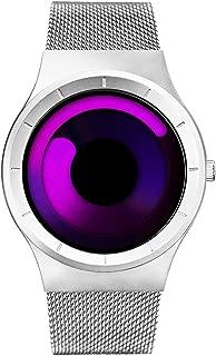 SINOBI Stylish Men's Watches Women's Quartz Wrist Watch with Unique Design and Purple Stainless Steel Milanese Mesh Band
