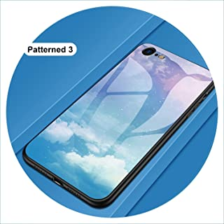 Luxury Phone Case on for iPhone 5S SE 6 6S Plus 7 8 Plus Coque Tempered Glass Cover Case for iPhone X XR XS MAX i Phone 5 6 S,Pattern 03,for iPhone 6 6s Plus