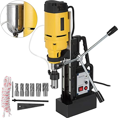 new arrival Mophorn Magnetic Drill 1350W Magnetic Drill Press outlet sale with 1Inch Boring outlet online sale Diameter Annular Cutter Machine 3372 LBS 6pcs HSS Annular Cutter Bits outlet sale