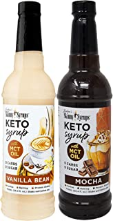 Sugar Free Keto Vanilla Bean and Mocha with MCT Oil 750 ml Bottles (Pack of 2) with 2 By The Cup Syrup Pumps