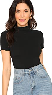 SheIn Women`s Cute Mock Neck Short Sleeve T Shirts Lettuce Trim Juniors Tee Tops