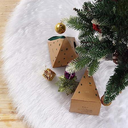 Wei/ß2 WELLXUNK/® Wei/ßer Pl/üsch Weihnachtsbaum Rock Weihnachtsbaumdecke Gro/ß Wei/ß Kunstfell Weihnachtsbaum R/öcke Ornaments f/ür Weihnachten Baum Rock Deko Wei/ß Weihnachtsdekoration