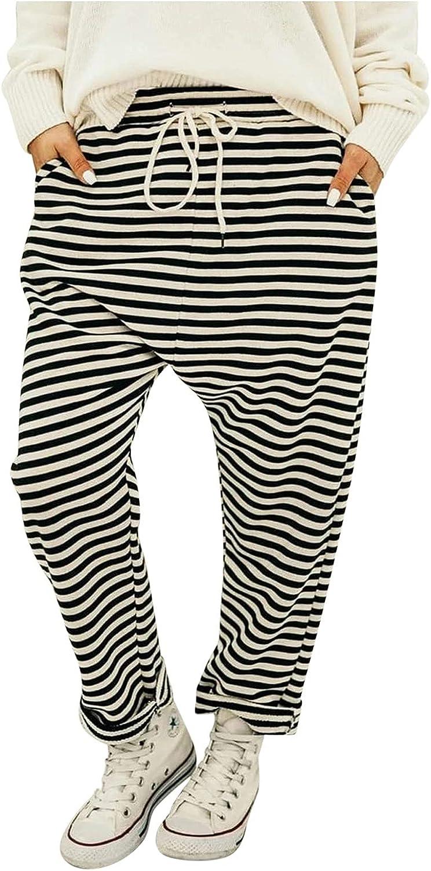 MIVAMIYA Women Comfy Cotton Harem Pants Striped Drawstring Elastic Waist Soft Pajamas Lounge Jogger Pants with Pockets