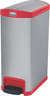 Rubbermaid Commercial Slim Jim End Step-On Trash Can, Stainless Steel, 13 Gallon, Red