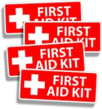 4 x Red First Aid Sticker Decal for Emergency Kid Camp DIY Box or Kit 1st