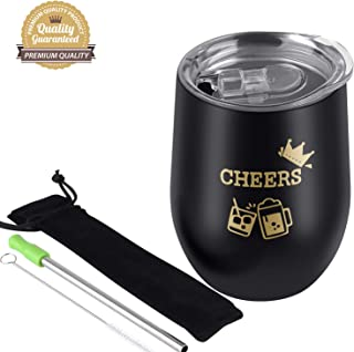 Cheers|12oz Wine Tumbler Glasses with Lid, Stainless Steel Stemless Wine Glass Tumbler, Double Wall Vacuum Insulated Travel Tumbler Cup for Wine, Ice Cream, Drinks, Coffee and Cocktails