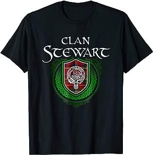 Stewart Surname Scottish Clan Tartan Crest Badge T-shirt