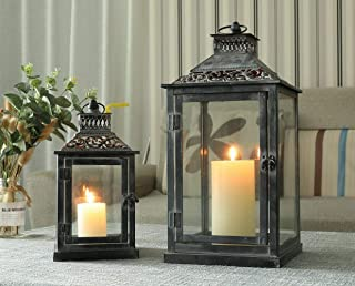JHY DESIGN Set of 2 Antique Grey Brush Decorative Lanterns, Metal Candle Lanterns for Indoor Outdoor, Events, Paritie and Weddings Vintage Style Hanging Lantern
