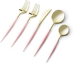Plastic Cutlery Set-40 Set- Disposable Forks, Spoons, Knives- Fancy Flatware Utensil Set for Dinner, Salad, Soup, Tea- Hea...