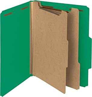 Smead 100% Recycled Pressboard Classification File Folder, 2 Dividers, 2