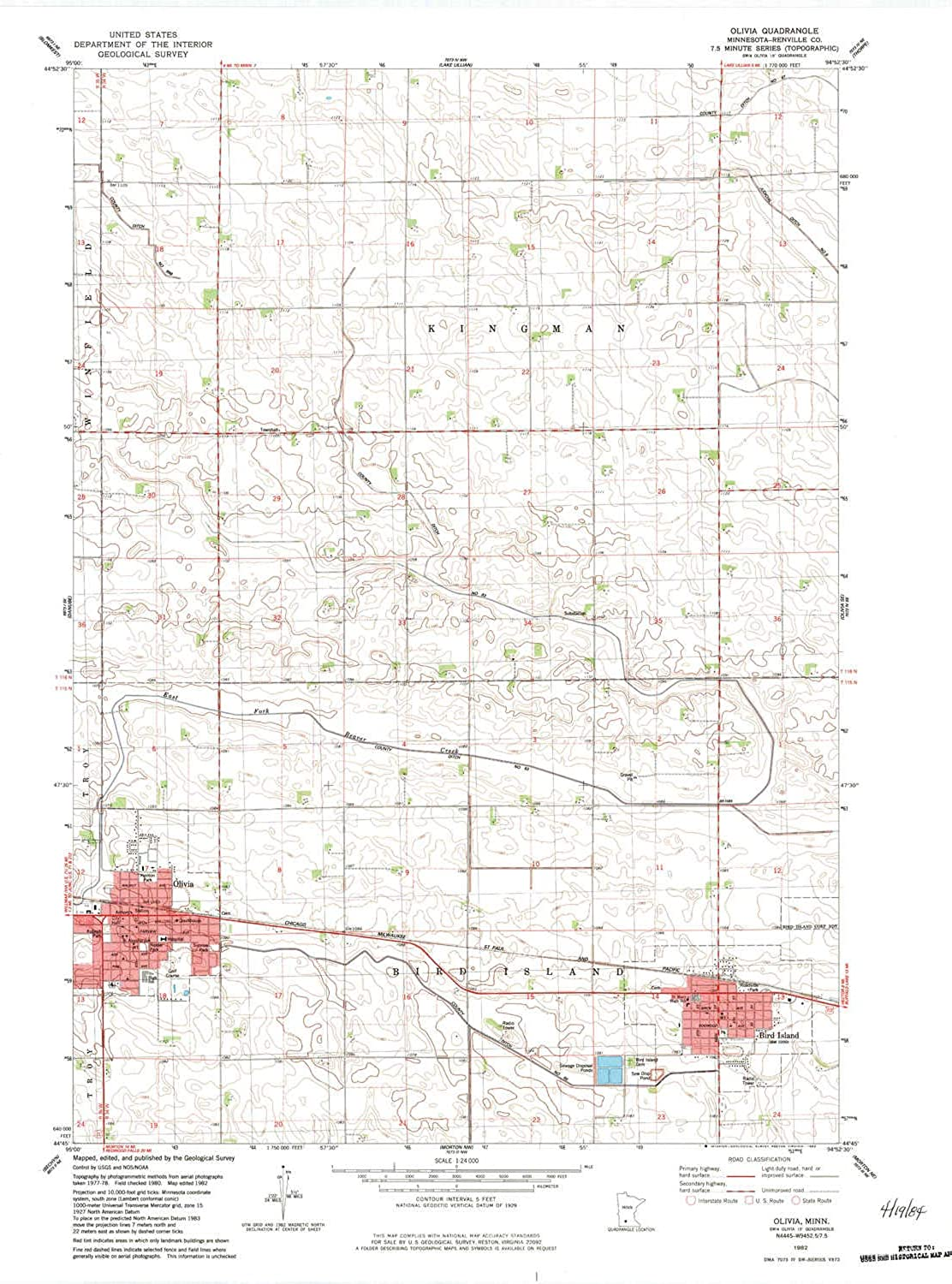 Olivia MN topo map, 1 24000 Scale, 7.5 X 7.5 Minute, Historical, 1982, Updated 1983, 27.23 x 21.53 in