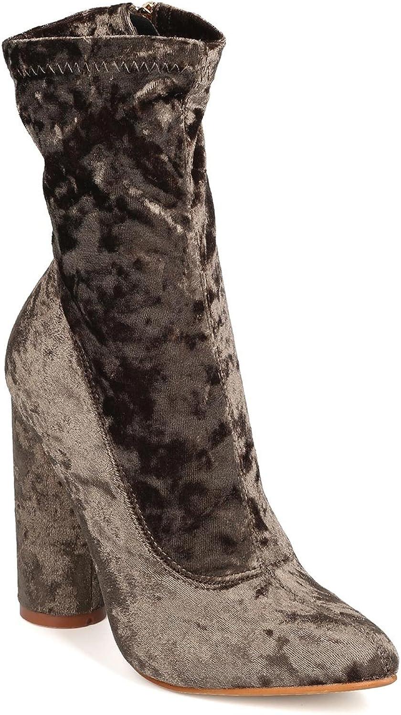CAPE ROBBIN Women Velvet Mid-Calf Pointy Toe Circular Chunky Heel Boot