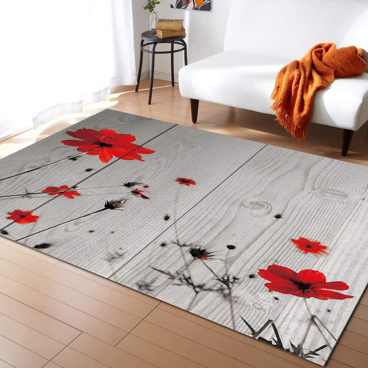 Credence Indianapolis Mall OUR DREAMS Red Poppies Floral Rectangle - Area Large Rugs Shape