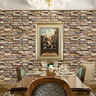 Stone Wallpaper Brick Backsplash Peel and Stick Stone Backsplash Self-Adhesive Removable Vinyl Wallpaper Faux 3D Stone Loo...