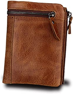 Genuine Leather Cowhide Leather RFID Men Coin Card Wallet with Zipper Coin Pocket (Color : Brown, Size : S)