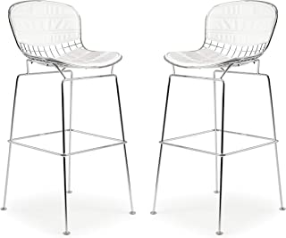 Poly And Bark Bertoia Style Wire Bar Stool In White (Set Of 2)