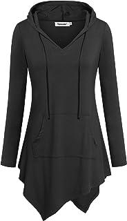 Tencole Women Asymmetrical Hoodie Shirt Long Sleeve Tunic Casual Tops with Pocket