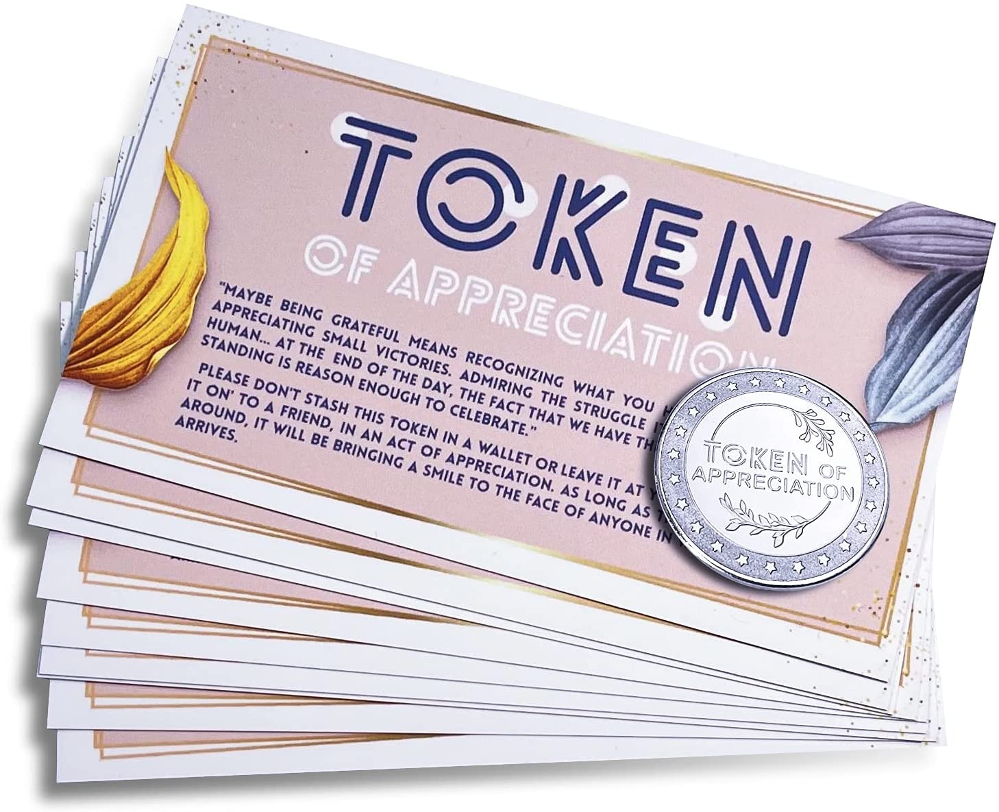 Tokens of Appreciation with Cards (Set of 10) - Recognition Gift - for Employees, Coworkers, Teachers, Volunteers