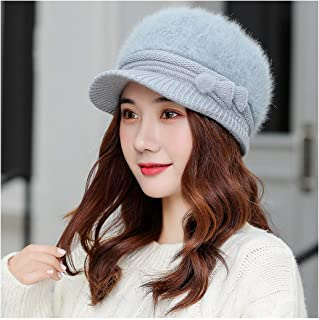 SF Women's Winter Hats, Cold-proof Wool Knit Hats, Fashion Basin Hats, Cute Rabbit Fur Warm Hats, Hats, Caps (Color : Light blue)