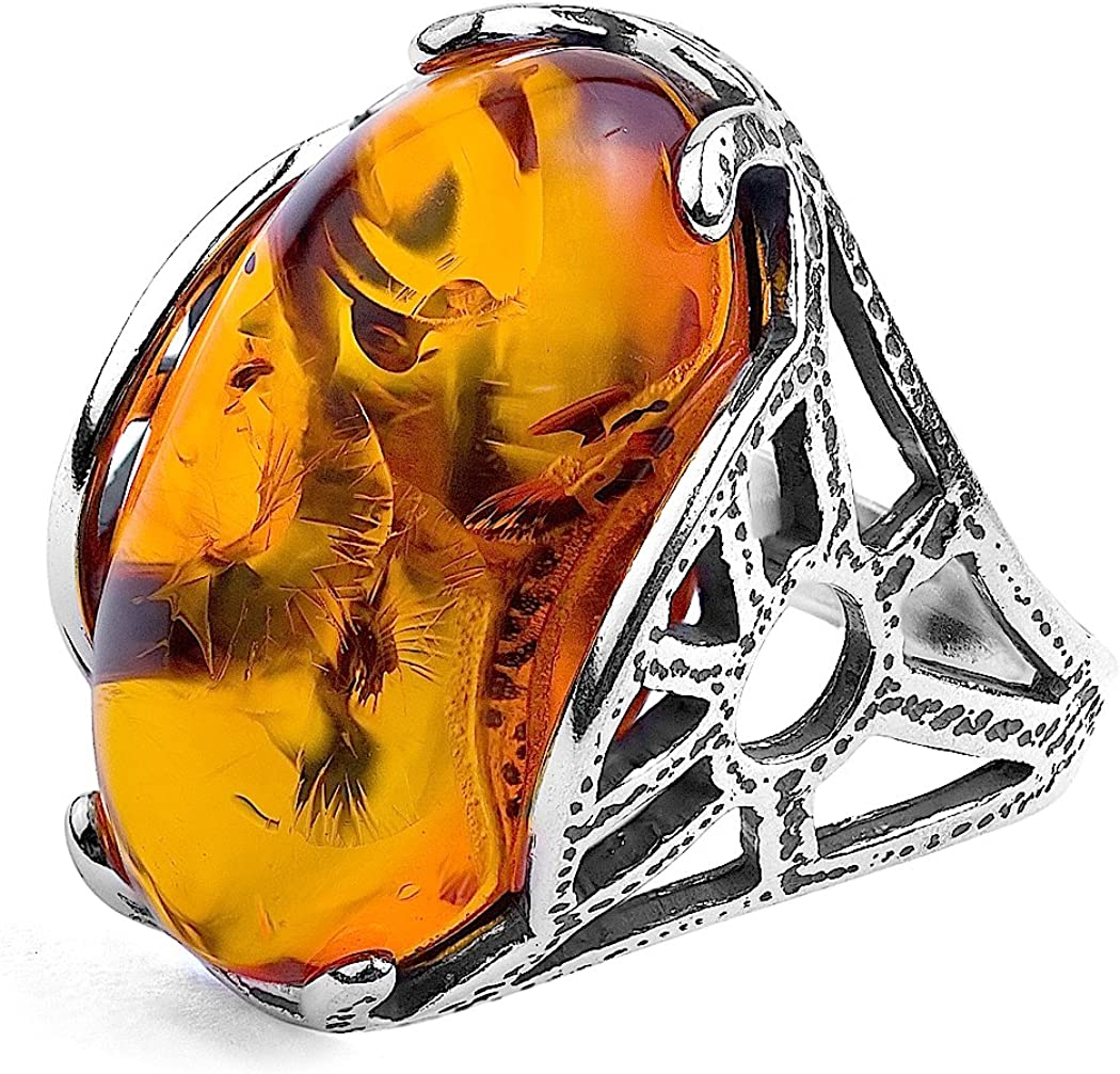 Amber and Sterling Superlatite Houston Mall Silver Oval Ring