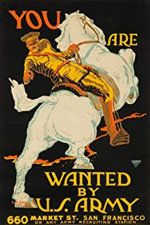 You Are Wanted by US Army Vintage Poster (artist: Barra) USA c. 1915 (36x54 Giclee Gallery Print, Wall Decor Travel Poster)