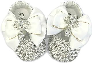 SCARPE BALLERINE BAMBINA BABY NEONATA 6-12 MESI CRISTALLI STRASS Battesimo Cerimonia Matrimonio Shoes Brillabenny