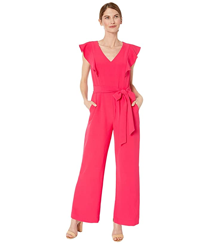Tahari by ASL  Petite Stretch Crepe Ruffle Shoulder Jumpsuit (Raspberry) Womens Jumpsuit and Rompers One Piece