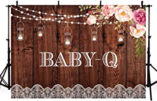 MEHOFOTO Rustic Baby-Q Party Photography Backdrops Wood Pink Floral Co-ed BBQ Baby Shower String Lights Mason Jar White Lace Background Banner for Picture Photo Studio Decoration 7