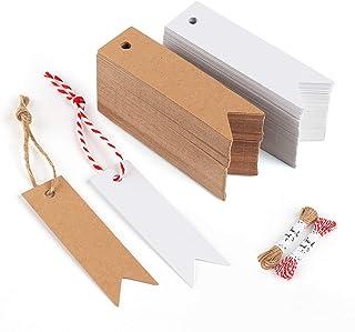Sweelov 200stk Kraftpapier Anhänger Etiketten weiß Braun Geschenkanhänger 7  2cm mit Jute Schnur 20M für Hochzeit Geschenke zum Basteln