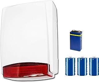 Alar MTAB – Sirena Exterior Carcasa de Plástico – Corriente de la batería inalámbrico con transmisor