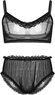 iixpin Men's Sissy See Through Underwear Set Camisole Bra Top with High Waist Briefs Panties