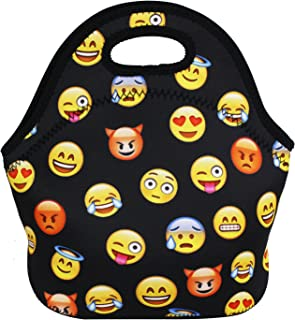 Violet Mist Neoprene Lunch Bag Reusable Insulated School Picnic Thermal Carrying Lunchbox Lunch Tote Container Organizer for Men, Women, Adults, Kids, Girls, Boys, Emoji Black