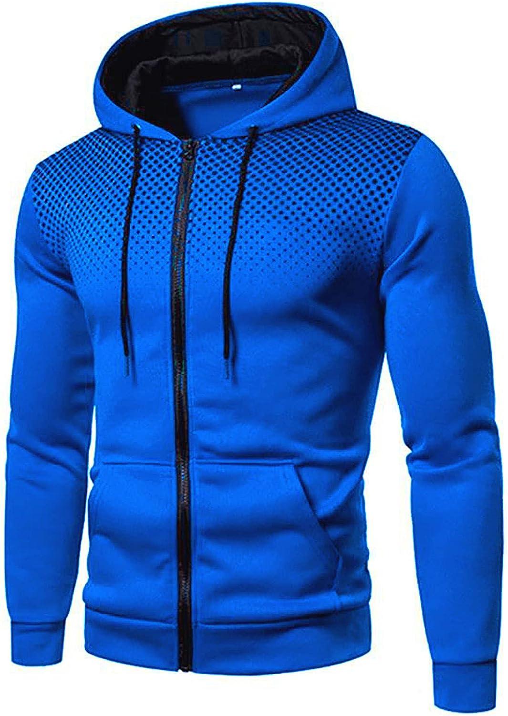 HONGJ Mens Zipper Hoodies, Fall Winter Polka Dot Patchwork Drawstring Hooded Sweatshirts Workout Sports Slim Fit Jackets