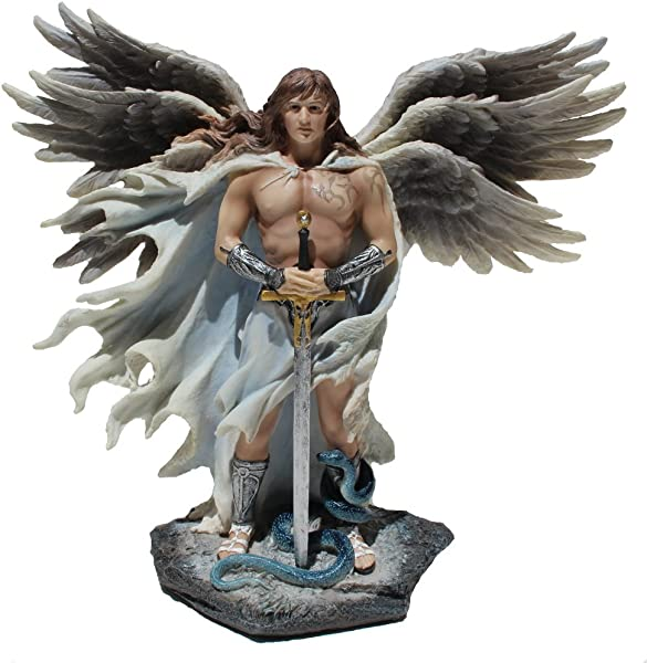 Six Winged Guardian Angel With Sword And Serpent 11 Inch Light Color Stone Gothic Statue