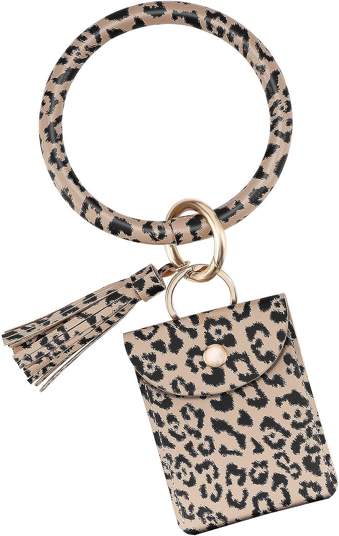 Emibele Wristlet Bracelet Keychain, PU Leather Tassel Bangle Keyring with Credit Card Holder Purse, Large Circle Bangle