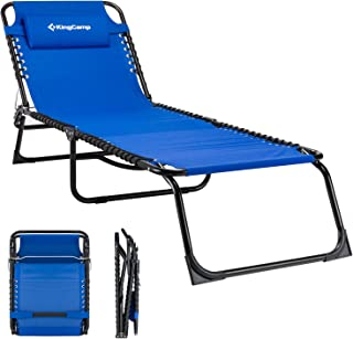 KingCamp Patio Lounge Chair Folding Camping Cot Heavy-Duty 3-Positions Suspension Outdoor Recliner Chaise with Removable Pillow, 600D Oxford, Steel Frame for Sunbathing Beach Pool Garden Yard Outdoor