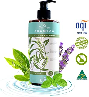 AQI Tea Tree Shampoo for Oily, Irritated, Flaky Scalp and Hair - Anti-Dandruff, Antifungal, Antibacterial Shampoo - Sulphate & Paraben Free Shampoo - 500ml, Made in Australia