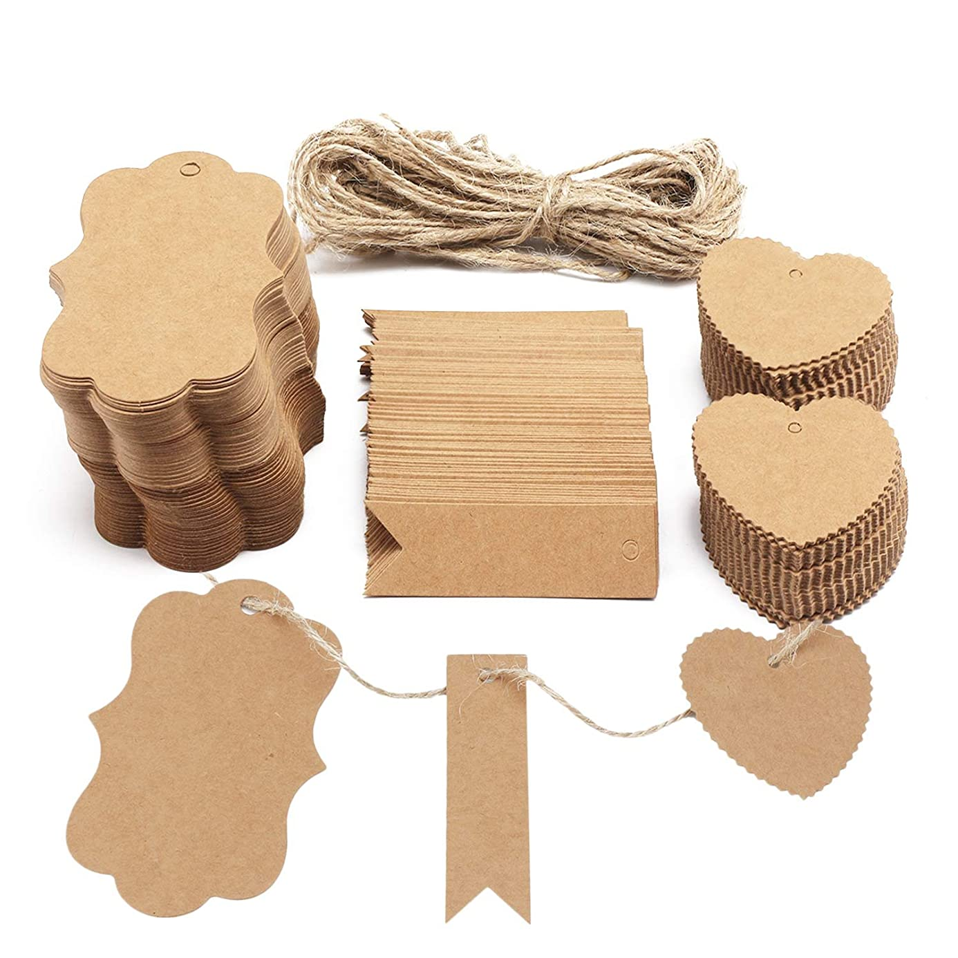 Paper Gift Tags, Segarty Custom Brown Kraft Paper Tags Price Tags Label Tags 300 PCS with Natural Jute Twine for Wedding Birthday Christmas Thanksgiving bxo6439090