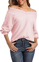 Kyerivs Women's Casual Loose V Neck Long Sleeve Waffle Knit Off Shoulder Tops Oversized Pullover Sweater