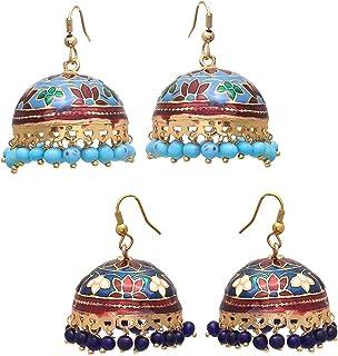 Geode Delight Jhumki Earring Sets Meenakari Dangle & Drop multi-color Jhumki Earrings Combo Pack of 2 for Girls/Women