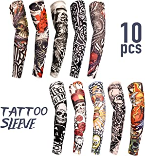 Tattoo Sleeves for Men Women,10 Pcs Arm Sleeves,Fake Piercings Temporary Tattoos Cover Up Sleeves,The Girl with The Dragon Tattoo
