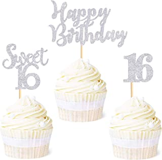 Edible Rice Paper Cupcake Toppers Cake Topper CT114 Sweet Sixteen 16 Sixteenth Birthday Party