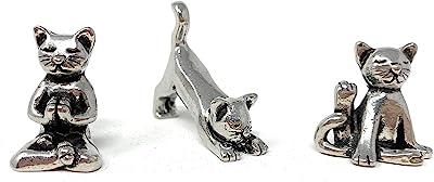 Basic Spirit Yoga Cat Figurine Set (Pewter)-Mini 3 pc. Set