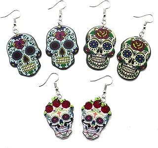 Gonioa 3 Pairs Sugar Skull Earrings Set for Women, Nickel Free Sugar Skull Earrings Fish Hooks