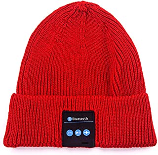 GLJJQMY Europe and The United States Creative Smart Knit Hat Multi-Function Bluetooth Earphone (Color : RED)