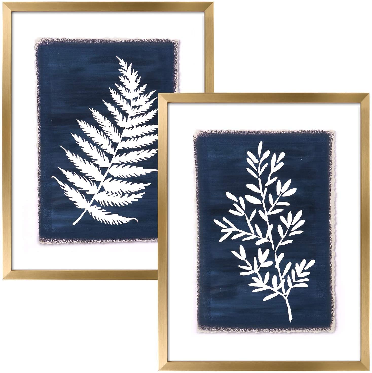 ArtbyHannah 2 Pack 12x16 Inch Framed Botanical Wall Art Decor with Gold Frame and Decorative Tropical Plant Pictures Print For Home Decoration