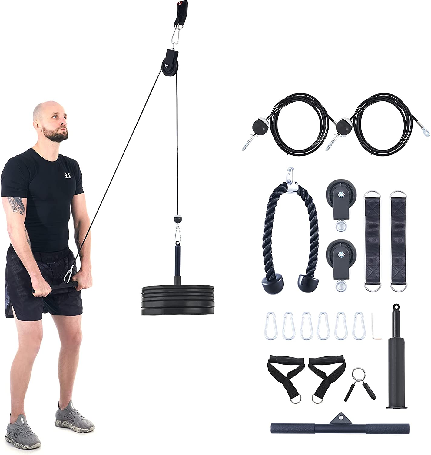 ZELUS 19pc Cable Machine Set w Pulleys, Tricep Rope, Handles, Bar, Sleeved Loading Pin, Straps, & More   LAT Pulley System for Home Strength Training   Cable Workout Equipment for Home Gym, 220lb Cap